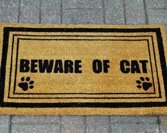 BEWARE OF CAT - Doormat, Welcome Mat