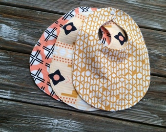Baby/Toddler Bibs ~ You Choose 1 or All Three (3)! ~ Clay//Southwestern//Geo//Tribal//Desert//Native//Gold//Aztec