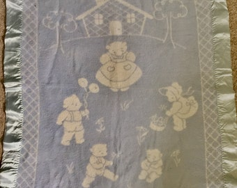 "1950s baby blanket~mama bear and baby bears~satin edges~reversible~blue and white~vintage layette~36"" by 48"""