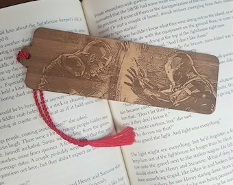 Marvel Iron Man and Captain America Civil War Bookmark with Tassel - Laser Engraved Wood - Tony Stark Steve Rogers