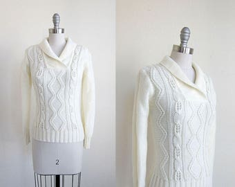 1980s vintage cable knit cream ivory white shawl collar acrylic jumper sweater xs s