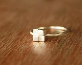 Block Ring - Stacking Ring - Sterling silver