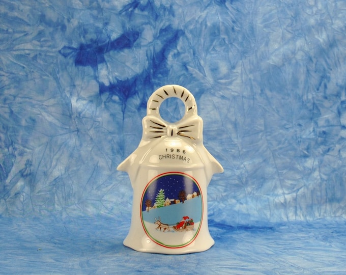 Vintage Christmas Bell, White and Blue, Santa In His Sleigh Holiday Bell, Santa and Reindeer, 1986 White Bell, Vintage Bell, Porcelain Bell