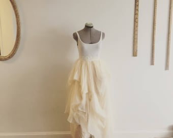 Dreamy soft chiffon wedding dress/wedding skirt in ivory and champagne 2 color tone