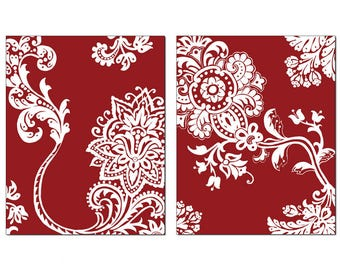 French Country Stylized Floral Wall Art, Crimson Background White Motif, 11x14 Matted Print Set of 2, Series#1, Matching Prints Available