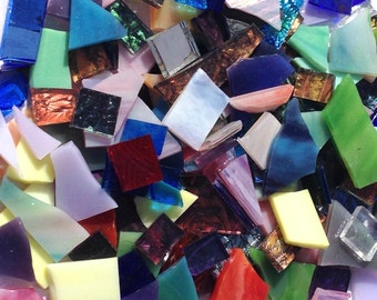 One Pound Off-Cuts/Scrap Stained Glass Mosaic Tiles