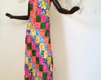 Vintage 1960s HAWAIIAN Maxi Dress 60s Mod PATCHWORK FABRIC 1970s Groovy Hippie Boho Shirt Dress Cotton Lilly Pulitzer Style Print Size Small