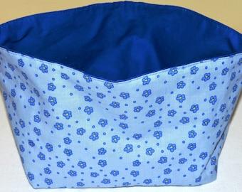 """empty basket Pocket pattern """"blue flowers"""""""
