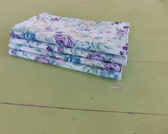 Everyday Cloth Napkins, Set of 4, Light Blue/Purple, Blue, Ivory Bouquets
