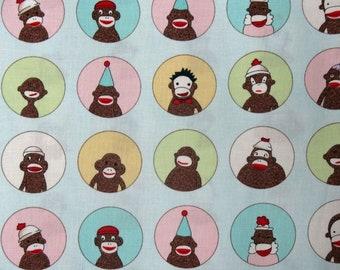 Monkey's'N Round Lite Blue sock monkey fabric