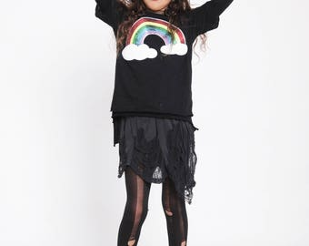 Organic baby & kids black sweater , stars print , Cool kids outfit , Rainbow print , kids black sweater