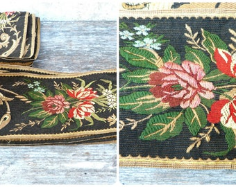 Antique 1890/1900 French Floral Jacquard ribbon trim large Ulsphory   5 metters/Almost 6 yards