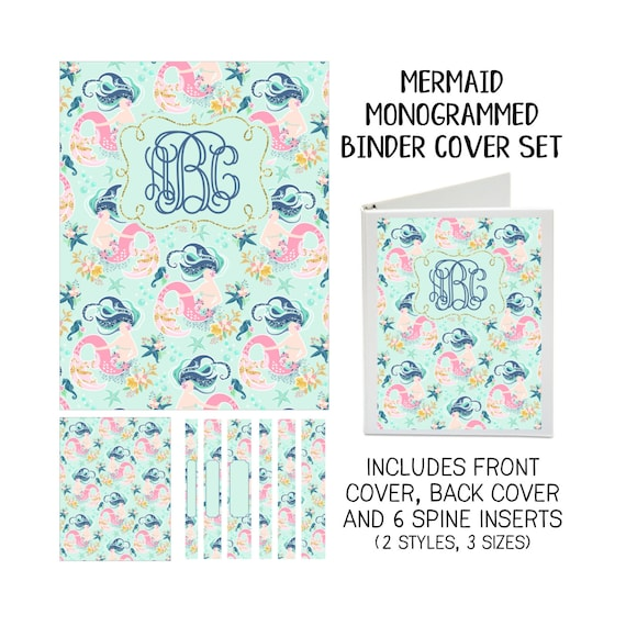 printable binder cover set mermaid front  u0026 back covers and