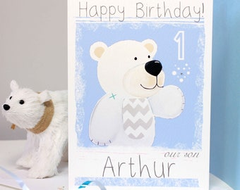 Arctic Polar Bear Birthday Card Personalised Childrens Age Birthday Card for Girls or Boys, Any Age 1st, 2nd, 3rd, 4th, 5th by Liza J design