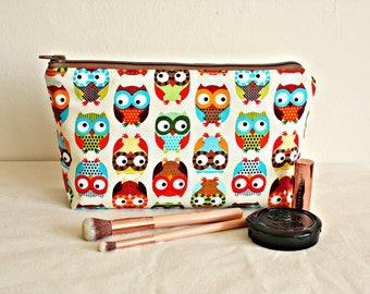 Owl makeup pouch, waterproof lining, makeup bag,toiletry bag,  cotton zipper bag, organizer, large pouch - Ready