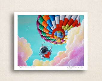 Love From Above - little astronaut and the hot air balloon - Limited Edition Signed 8x10 Semi Gloss Print (4/10)