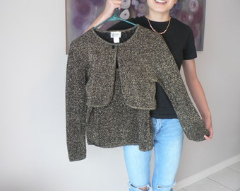 Vintage 90's Black With Metallic Gold Weave  Spaghetti Strap Top and Matching Crop Jacket - 90's Evening Wear