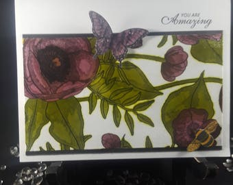 Handmade Floral and Butterfly Card