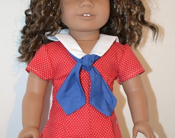 American Made Sailor Romper for 18 inch Girl Dolls-Fresh and Fun in Red Pin Dots with White Collar and Blue Tie-Optional Shoes!