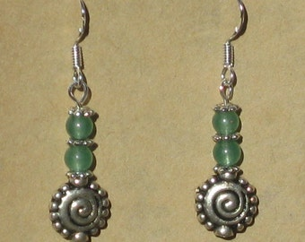 Earrings with Spiral Charm and Aventurine Beads