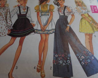 Vintage 1960's Simplicity 8208 Mini-Dress, or Blouse, Mini-Skirt and Pants Sewing Pattern Size 10 Bust 32.5