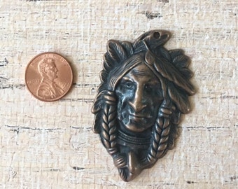 Indian Head Pendant Antiqued Copper Pewter Jewelry Supplies