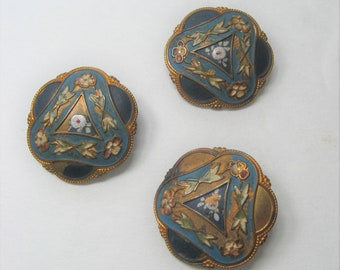 "3 Antique Buttons Set 7/8"" Blue Champleve Enamel, Round Scallop Edge, Loop Shank, Hand Painted Floral Vintage 1900s Victorian Edwardian"