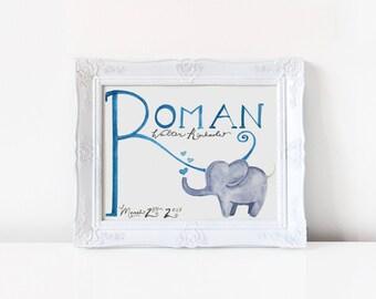 Elephant Watercolor Name Print