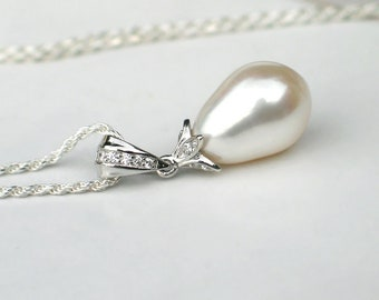 Teardrop Pearl Pendant | Large White Freshwater Pearl | CZ Pendant | Sterling Silver Diamond Cut Rope Chain Necklace | Bridal Jewelry Gift