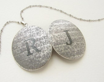 Double initial necklace, personalized jewelry, initial necklace monogram locket, couple initial locket wedding gift bridal necklace