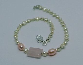 Handmade Genuine Rose Quartz and Freshwater Pearl beaded bracelet - pink and white with silver details