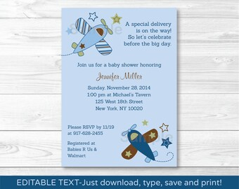 Cute Airplane Baby Shower Invitation / Airplane Baby Shower Invite / Blue Airplane / Baby Boy Shower / INSTANT DOWNLOAD Editable PDF A418