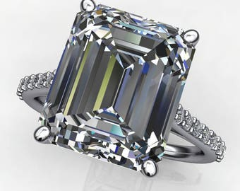 evangeline ring – 7 carat emerald cut NEO moissanite engagement ring, cathedral setting
