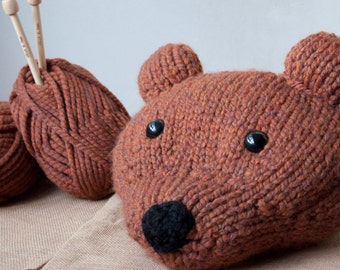 Beginner Knitting Kits - Bear Head Pillow - Brown or Cream Forest and Arctic Friends