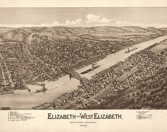 Elizabeth and West Elizabeth, Allegheny County, Pennsylvania (PA) 1897 Aerial Views Reproduction Historical Map Print