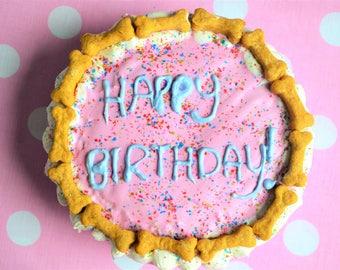 Dante's Birthday Cake w/ Bone Trim /Dog Birthday /Dog Cake /Dog Bakery /Organic Dog Treats /Birthday Cake/Dog Owner Gift /Dog Cupcakes