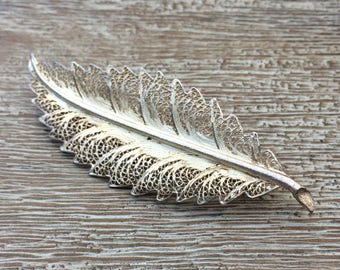 Vintage Silver Feather Brooch  Filigree