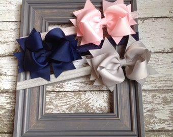 Boutique Baby Girls Set of 3 Grey Navy Pink Large Hair Bow on Elastic Headband..Perfect for Photo Props holidays birthdays
