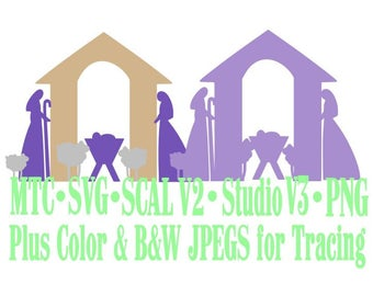 Nativity Christmas Scene #02 Cut Files MTC SvG SCAL Silhouette Format JPEGs PNG