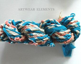 Specialty Sari Silk Ribbon Yarn, Twisted with Chiffon, 100g, Fair Trade, Art Yarn, Bracelet Ribbon, Doubled, Artwear Elements, #TWST9