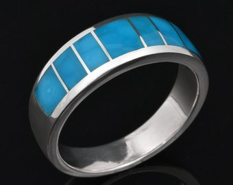 Birdseye Turquoise Wedding Ring In Sterling Silver, Turquoise Wedding Band, Turquoise Inlay Ring by Hileman