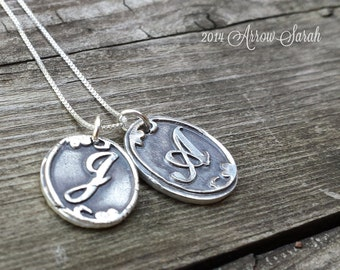 Personalized Double Initial Pendant and Necklace made from Recylced, Reclaimed fine silver .999 Great Gift!
