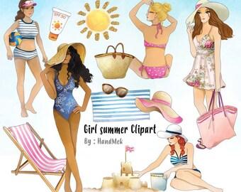Girls summer clipart Instant Download PNG file - 300 dpi