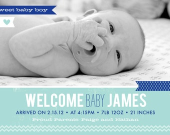 Baby Boy or Girl Birth Announcement - 5x7 Printable