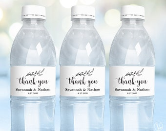 Water Bottle Labels, Printable Water Bottle Label Template, Personalized and Editable, Thank You, VW01