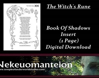 Wicca, Wiccan, Book Of Shadows Pages:  The Witch's Rune, Gardnerian chant