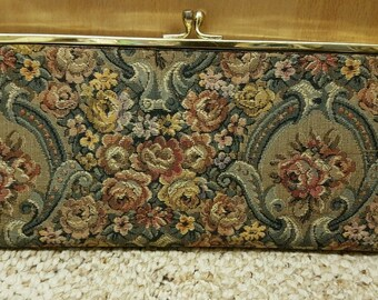 Vintage HARRY LEVINE Tapestry Evening Bag Purse