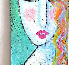 Colorful Abstract Portrait of a Woman on Wood