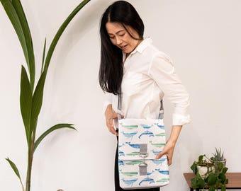 Whale Print Messenger Bag - casual everyday bag - vegan vegetarian bag - shoulder laptop bag - gift for him, her - cross body - handmade