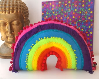 Crazy Happy Large Rainbow Cushion -  A Funky Plush Rainbow. Rainbow Plush. Rainbow Pillow. Rainbow Cushion with tassels and pom poms
